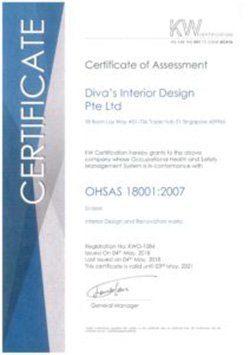 OHSAS Certificate of Assessment Diva's Interior Design